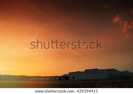 The image of power pole, sunset