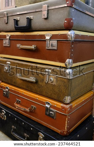 The image of retro style suitcases - stock photo
