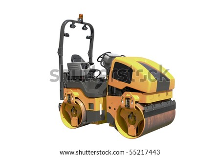 The image of road roller under the white background - stock photo