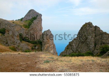 The image of sea and mountains in Crimea