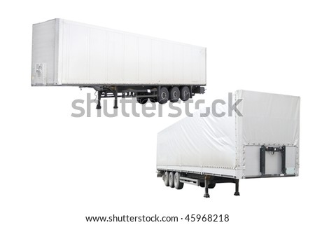 The image of semitrailers under the white background