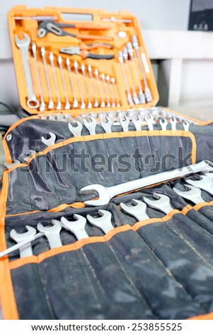 The image of set of spanners - stock photo