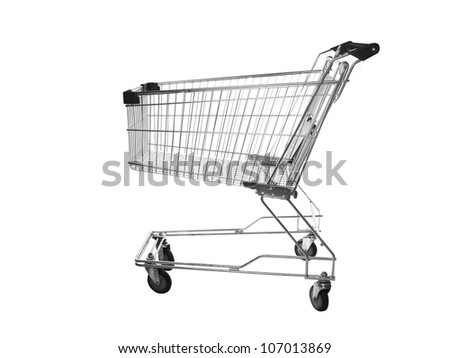 The image of shopping trolley under the white background - stock photo