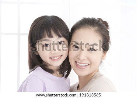 The image of smiling mother & daughter in Korea,Asia