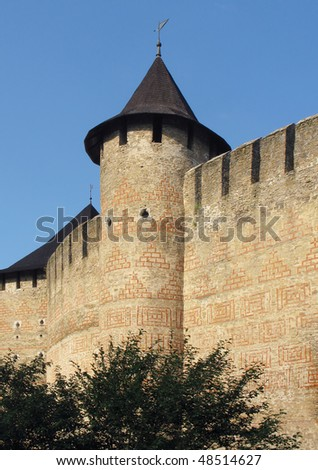 The image of stone medieval castle wall