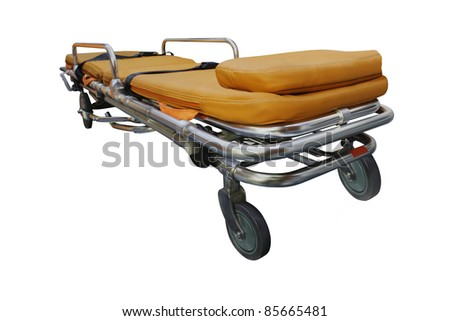 The image of stretcher under the white background. Focus is under front part of stretcher - stock photo