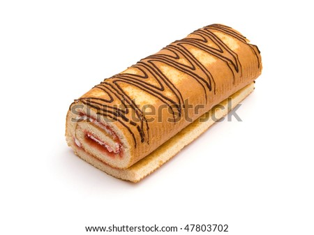 The image of swiss roll isolated on white - stock photo