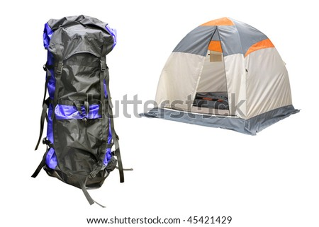 The image of tent and knapsack under the white background - stock photo