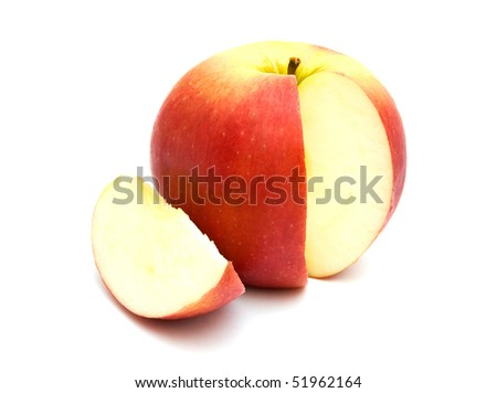 The image of the apple isolated on white background