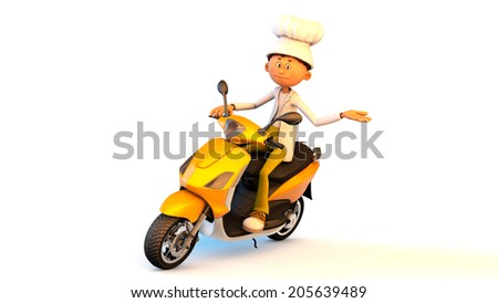 The image of the cook on a motorcycle - stock photo