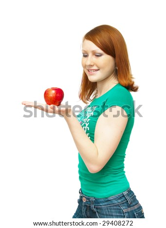 The image of the girl holding an apple