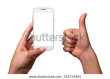 The image of the hand that holds the smartphone, the second hand shows the symbol Like. Image Like and smartphone on white isolated background. - stock photo