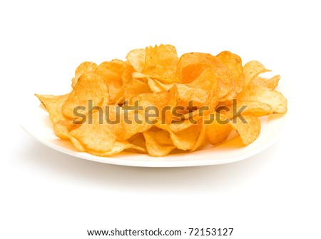 The image of the plate with potato chips isolated on white - stock photo