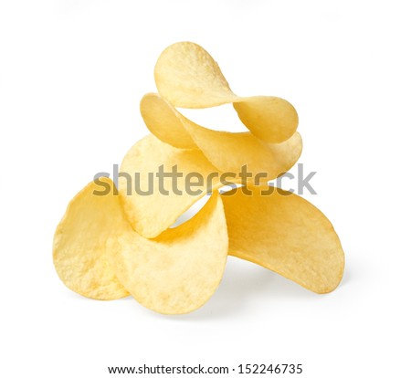 The image of the potato chips isolated on white. With clipping path - stock photo