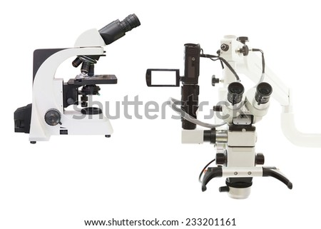The image of the professional medical laboratory microscope isolated under the white background - stock photo