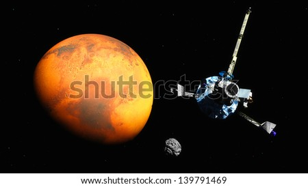The image of the spaceship near Mars - stock photo