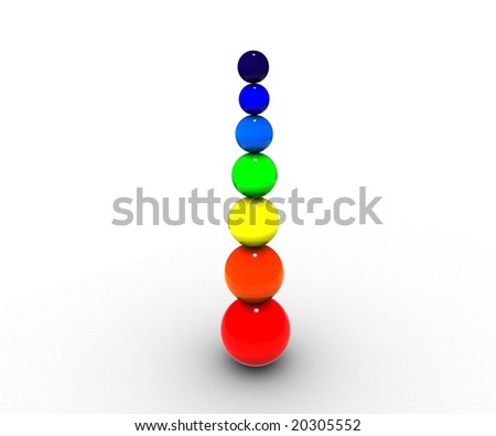 The image of the spheres located vertically painted in colors of a rainbow with increase in radius.