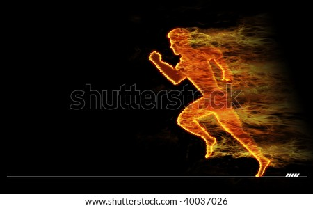 The image of the sportsman of the runner covered with fire. - stock photo