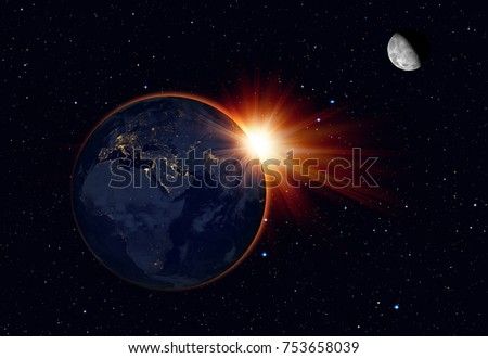"The image of the sun , moon and World from space ""Elements of this image furnished by NASA """