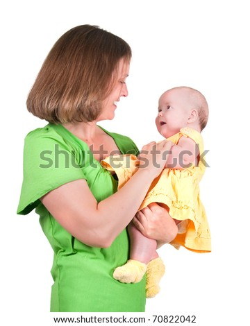 The image of the woman and its small daughter - stock photo