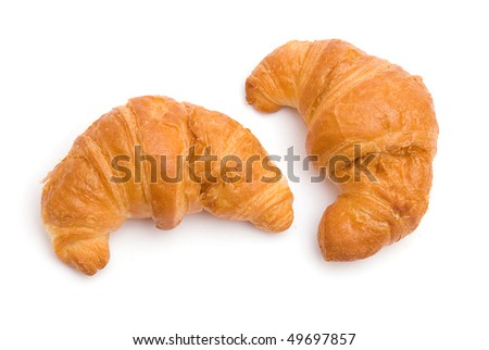 The image of two croissants isolated on white