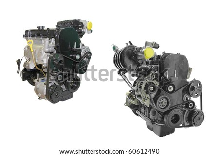 The image of two engines under the white background - stock photo