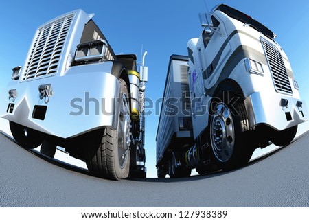 The image of two trucks against the sky