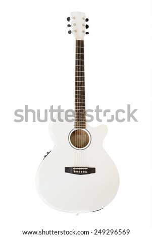 The image of white acoustic guitar isolated under the white background - stock photo