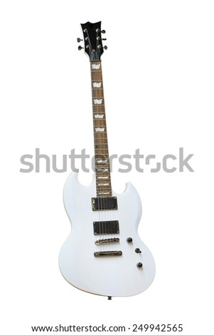 The image of white electric guitar under the white background - stock photo
