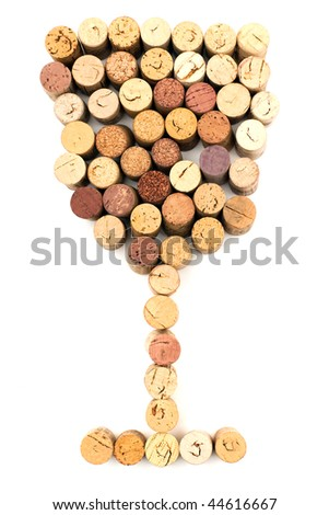 The image of wineglass made from wine corks - stock photo