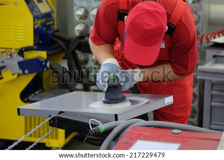 The image of working painter - stock photo