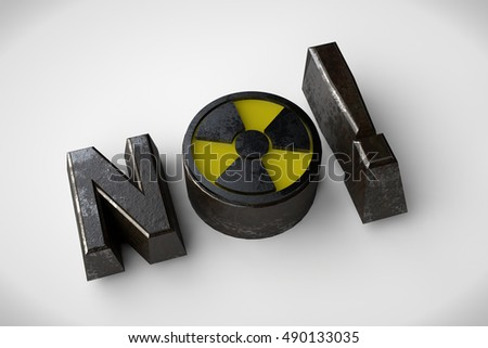 the image text is made of metal and the sign of radioactivity, 3d rendering