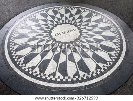 The Imagine mosaic dedicated to John Lennon at Strawberry Fields in Central Park, New York City - stock photo