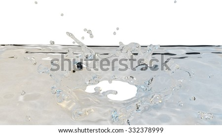The impact of water droplets forming a crown shape - stock photo