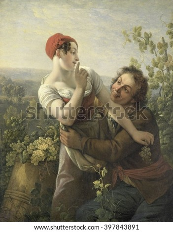 The Impassioned Grape Picker, by Peter Paul Joseph Noel, 1817-19, Dutch painting, oil on panel. Man embracing a smiling but resisting young woman in a vineyard
