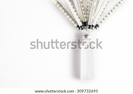 The implication is that the shortage of medicines. Syringe with medicine, - stock photo