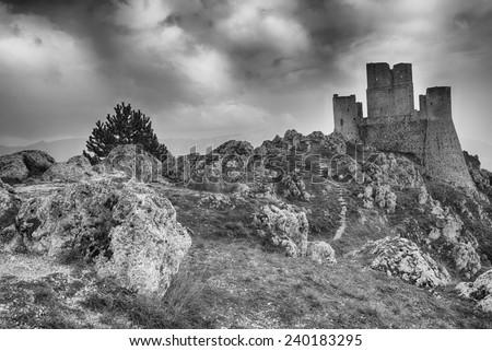 The imposing castle of Rocca Calascio in the ancient lands of Abruzzo - stock photo