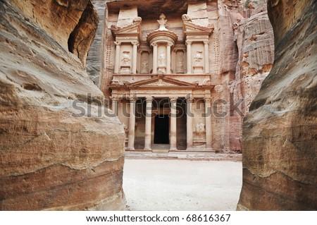 The imposing Monastery in Petra, Jordan - stock photo