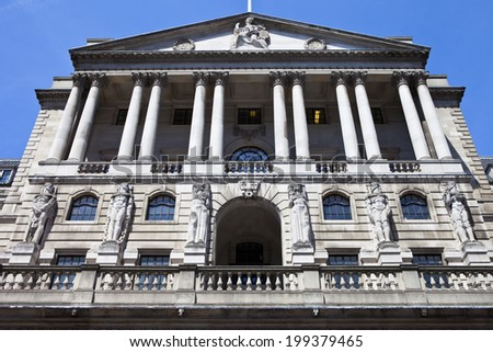 The impressive facade of the Bank of England located in the City of London.
