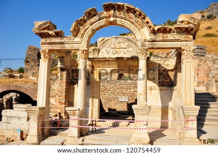 The impressive ruins of the ancient Temple of Hadrian in Ephesus, Turkey. It dates from the 2nd century. - stock photo