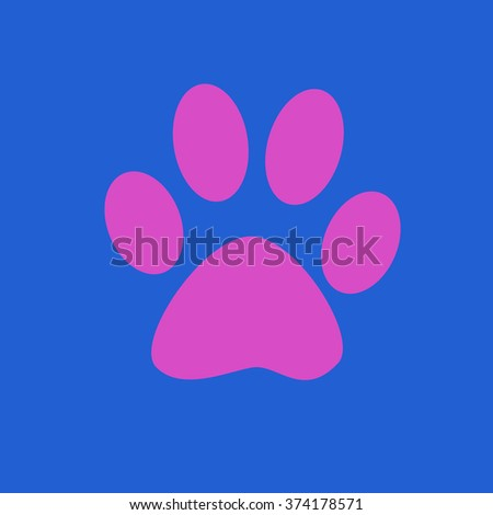 The imprint of dog paw. Web icon, color paw of the animal. Pink paw print pet. Print on a blue background. - stock photo