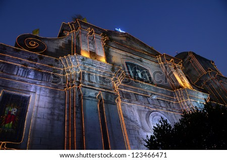 The Imus Cathedral in Imus, Cavite, Philippines, lit for Christmas. - stock photo