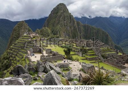 The Inca citadel of Machu Picchu in Peru, South America. - stock photo