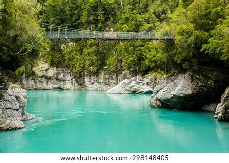the incredibly blue-colored hokitika gorge on the southern island of new zealand - stock photo