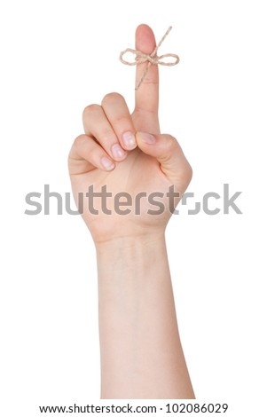 The index finger to a node on  white background - stock photo