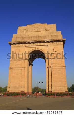 The India Gate situated in the heart of New Delhi is the national monument of India - stock photo