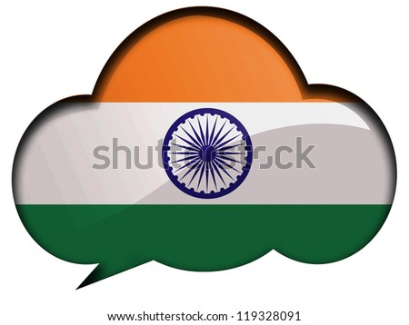 The Indian flag painted on  speaking or thinking bubble