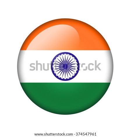 The Indian flag. Round glossy icon. Isolated on white background.