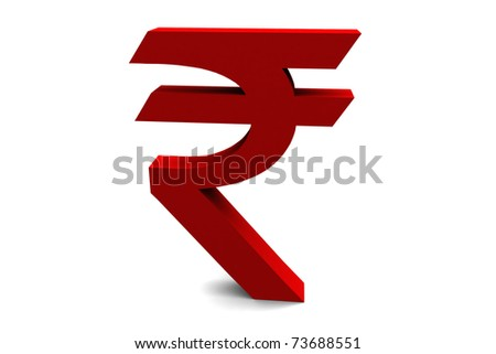 The Indian rupee symbol isolated on a white background. - stock photo