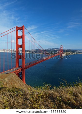 The indigo sky above Golden Gate Bridge. - stock photo